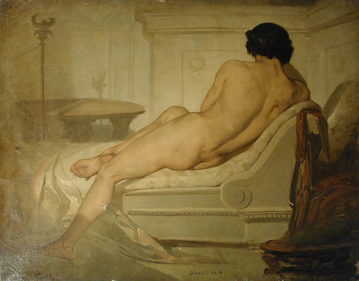 Fonds d'œuvre isdaT, Bernard BENEZET, <i>Nu masculin couché</i>, 1858, huile sur toile, 65x81 cm, envoi de Paris. Coll. isdaT.
