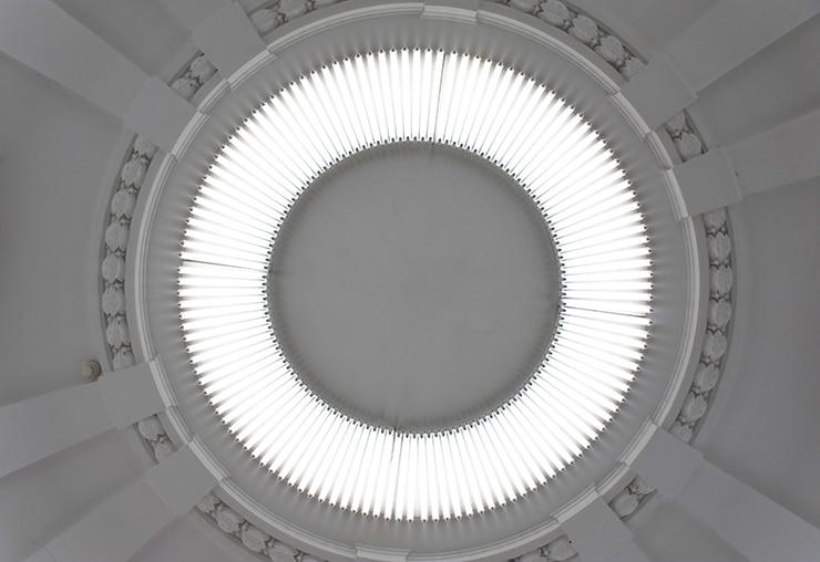 Fonds d'oeuvres isdaT : Lumilux 11, Gerhard Merz, assemblage lumineux, oeuvre in situ créée dans le cadre du Printemps de Septembre, 2005