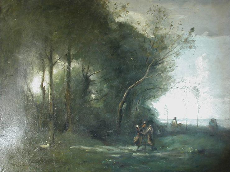 Fonds d'œuvre isdaT, Raymond LAGRAVERE, Copie d'après un paysage de Camille Corot, 1923, huile sur toile, 65x80 cm, envoi de Paris. Coll. isdaT.