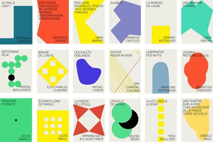 ca3c4e3f0f4 Identité graphique de la maison d édition Recours au poème éditeurs conçue  par Sophie Cure et Ultragramme.