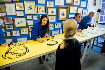 L'Usine à dessins, performance des cours adultes, JPO de l'isdaT, février 2019. Photographie © Franck Alix