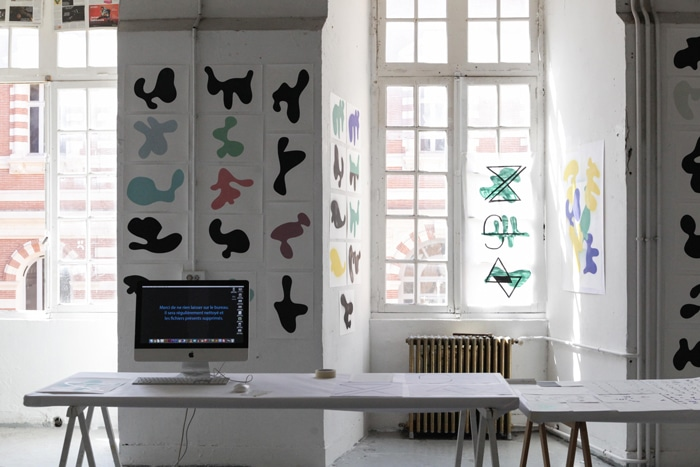 Le Pavillon des villes invisibles, workshop design graphique avec Sophie Cure et les étudiants en année 1 à l'isdaT, mars 2019