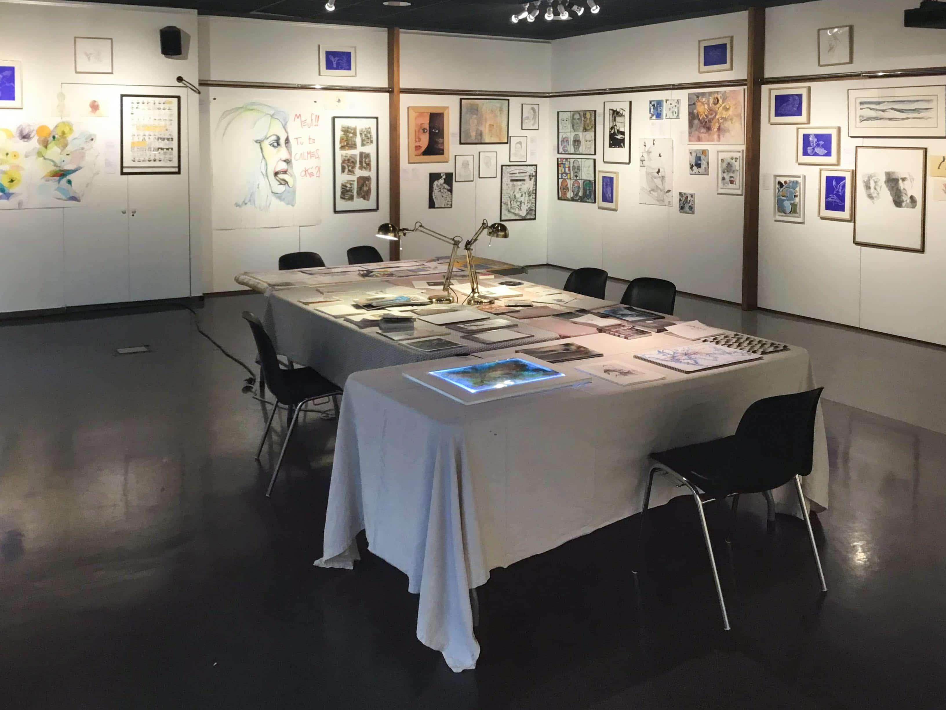 Exposition <i>Dessin(s)</i>, cours adultes de Quentin Jouret, Centre Culturel Alban Minville, février 2020. Photographie © Quentin Jouret