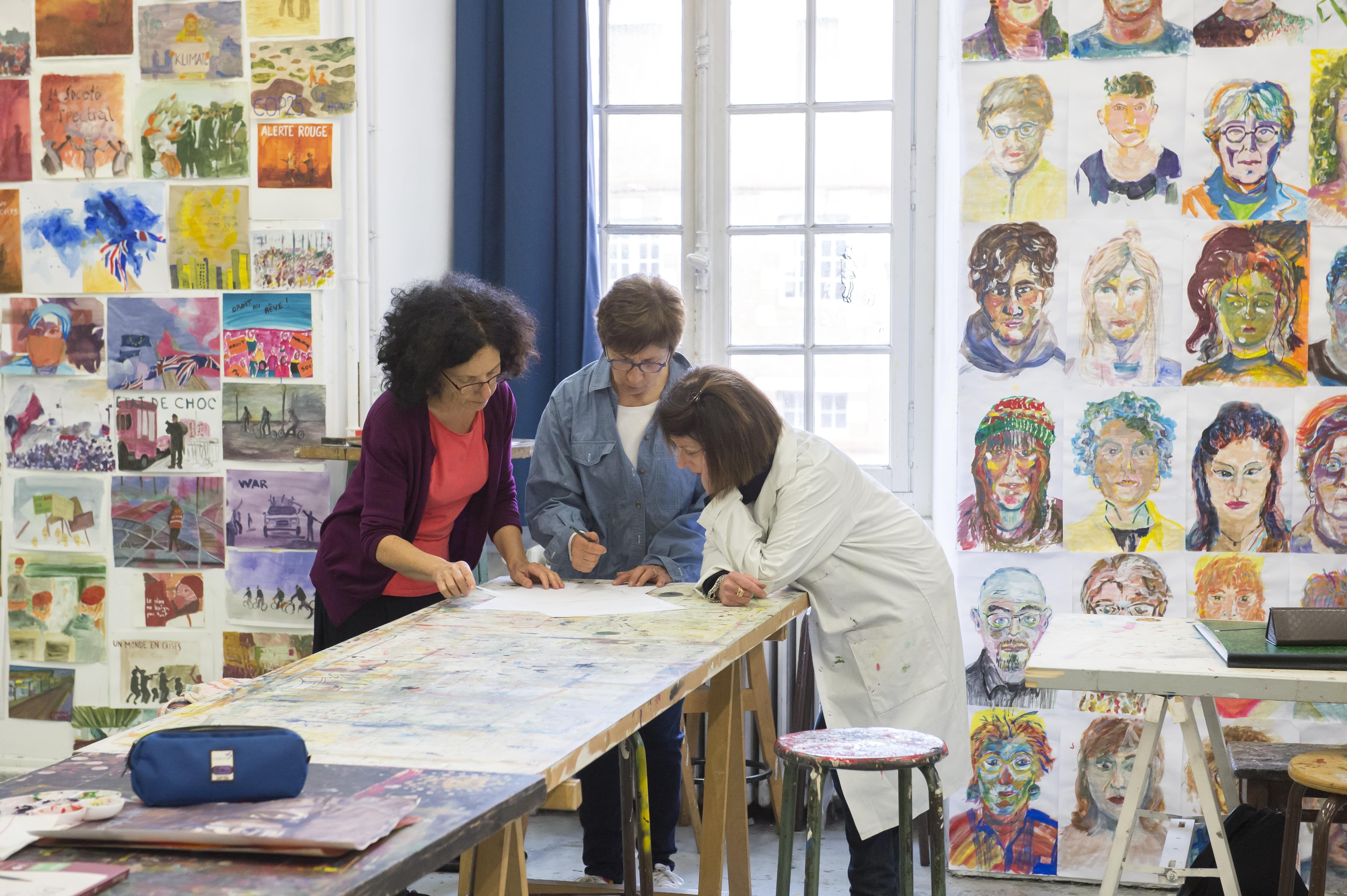 Cours adultes de Martine Gélis, Journées Portes Ouvertes de l'isdaT, février 2020. Photographie © Franck Alix